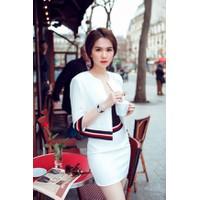 Áo váy Ngọc Trinh kiểu áo tay lửng kèm áo ống váy ngắn