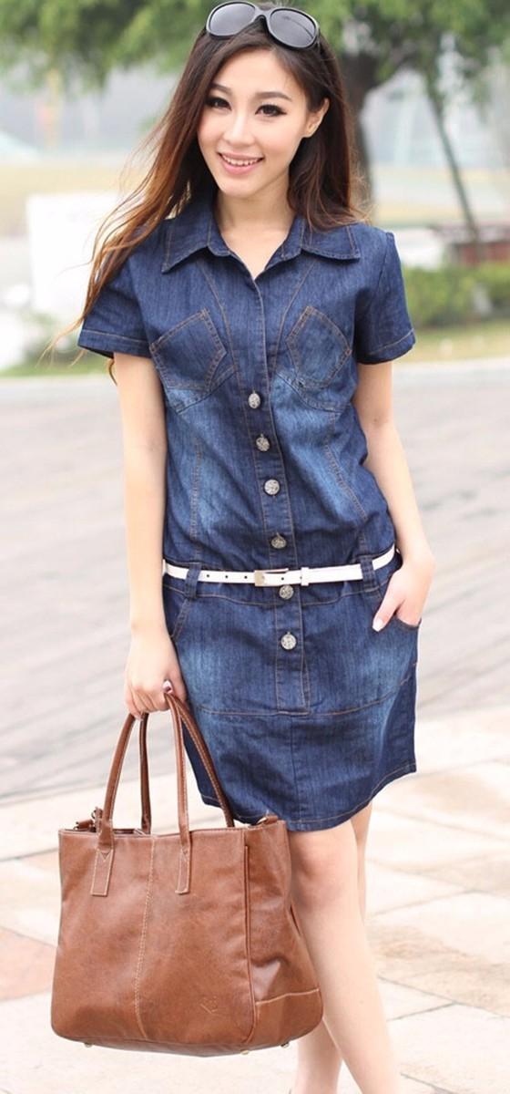 Đầm jean suông 6 túi D010