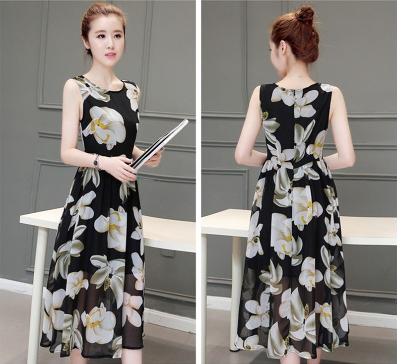 Đầm vintage họa tiết hoa lan D007