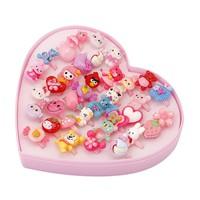 Hộp 36 chiếc nhẫn hình họa tiết cực kỳ dễ thương cho bé yêu