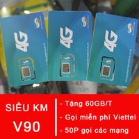 Sim 4G Viettel V90 Tặng 60GB 1 Tháng - Nghe Gọi Miễn Phí