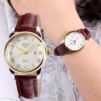 Đồng hồ nữ dây da  mặt xi vàng chống rỉ có lịch ngày-315