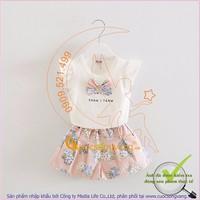 Bộ quần áo bé gái quần đùi và áo thun cộc tay đính nơ GLSET028-hong