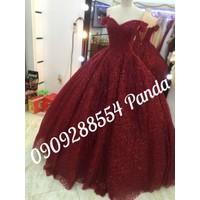 áo cưới đỏ đô tay ngang kim tuyến lấp lanh