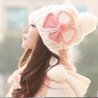 Mũ nón len đính nơ