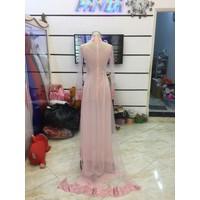 áo dài hồng pastel hàng co sẵn ren hoa văn