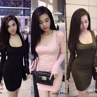 KN1180 - ĐẦM BODY THUN TAY DÀI HỞ VAI SO HOT