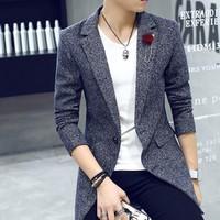 áo khoác blazer cài hoa Mã: NK0974 - XÁM ĐẬM
