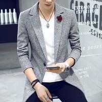áo khoác blazer cài hoa Mã: NK0974 - XÁM NHẠT