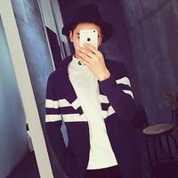 áo khoác len sọc phối màu Mã: NK0965 - ĐEN