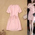 Đầm xòe hồng ngắn tay xinh yêu - NR137