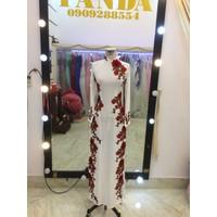 áo dài trắng ren đỏ cao cấp sang trọng giá rẻ mềm