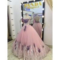 áo cưới tay con hồng ren chân tím sang trọng