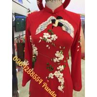 áo dài cưới đỏ đủ màu theu hoa rubang xinh nhât 2017-2018