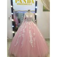 áo cưới tay dài ren trắng hồng be pastel
