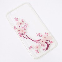 Ốp lưng silicon iPhone 6 6S cành mai màu hồng