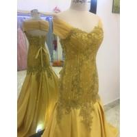 áo cưới tay ngang vàng đồng nude đuôi dài phale lấp