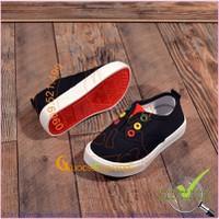 Giày slip on trẻ em đế cao su nhẹ chống trượt GLG043-den