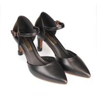 Giày cao gót nữ gót nhọn 8cm màu đen HC1313