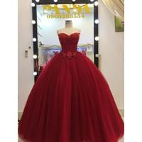 áo cưới đỏ kết hạt ngọc trai tùng phồng