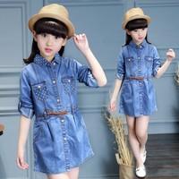 Áo váy jean thắt eo cho bé gái từ 3 đến 12 tuổi - RD74002