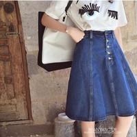 chân váy Jean xòe