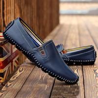 Giày mọi nam thời trang da thật LT930 - màu xanh