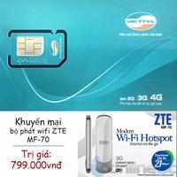 Sim 4G Viettel tốc độ cao 5Gb tháng Khuyến mại bộ phát wifi ZTE MF70
