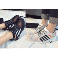 Giày bata lưới cầu vồng màu đen