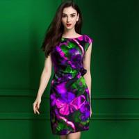 Đầm 3d hoa tím