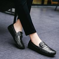 Giày lười nam cao cấp, da thật, vân cá sấu mẫu mới 2017 ZS060