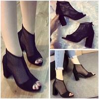 Giày cao gót lười gót vuông