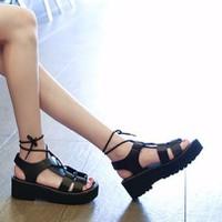 SD09D - Giày sandal đế xuồng phong cách Hàn Quốc