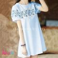 Váy bầu mùa hè - Váy bầu kaki đính hoa cúc