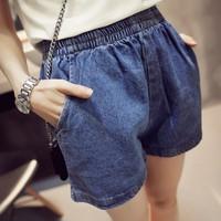 Quần shorts jean cạp chun 2 túi QJ46