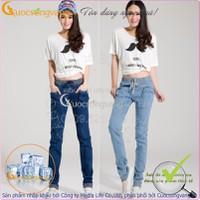 Quần jean nữ đẹp co giãn kiểu Harem lưng thun dáng thể thao GLQ013