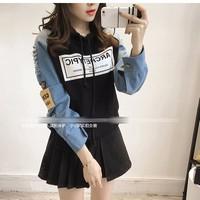 áo hoodie tay denim rách Mã: AX3004 - ĐEN