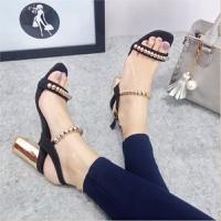 Giày sandal đế vuông quai ngang hạt tròn