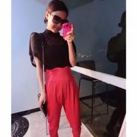 quần baggy nữ cạp cao Mã: QD1176 - ĐỎ