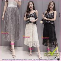 Chân váy dài chân váy ren mềm hai lớp GLV034