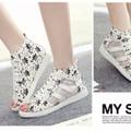 Sandal nữ phối lưới mùa hè phong cách Hàn Quốc