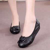 Giày búp bê nữ da đính nơ - LN1079