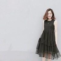 Đầm Suông Xếp Tầng