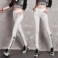 Quần Jeans thun Skinny Dây kéo ống quần