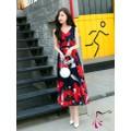 Đầm maxi hoa đỏ | Đầm maxi voan