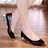 Giày cao cấp-giày búp bê gót đính đá mũi kim loại