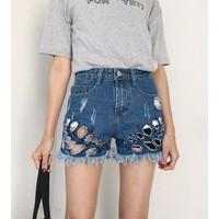 quần short jeans rách tua Mã: QN680 - 2