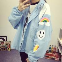 áo khoác oversize hình cầu vồng Mã: AO2921 - XANH