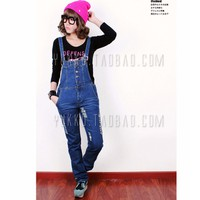 quần yếm jeans nữ rách Mã: QD1324