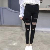 quần skinny phối lưới rách Mã: QD1434
